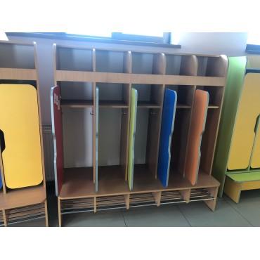 32993 Шкаф детский 5-ти дверная фигурные фасады хром. трубы 1550х550х1560