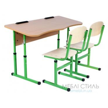 90131 + 2х90292 Комплект стол ученический 2-местный без полки антисколиозный, №4-6 + стул Т-образный, №4-6