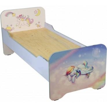 0837 + Ф Кровать детская с закругленными перилами с фотопечатью, без матраса 1432х634х615 мм