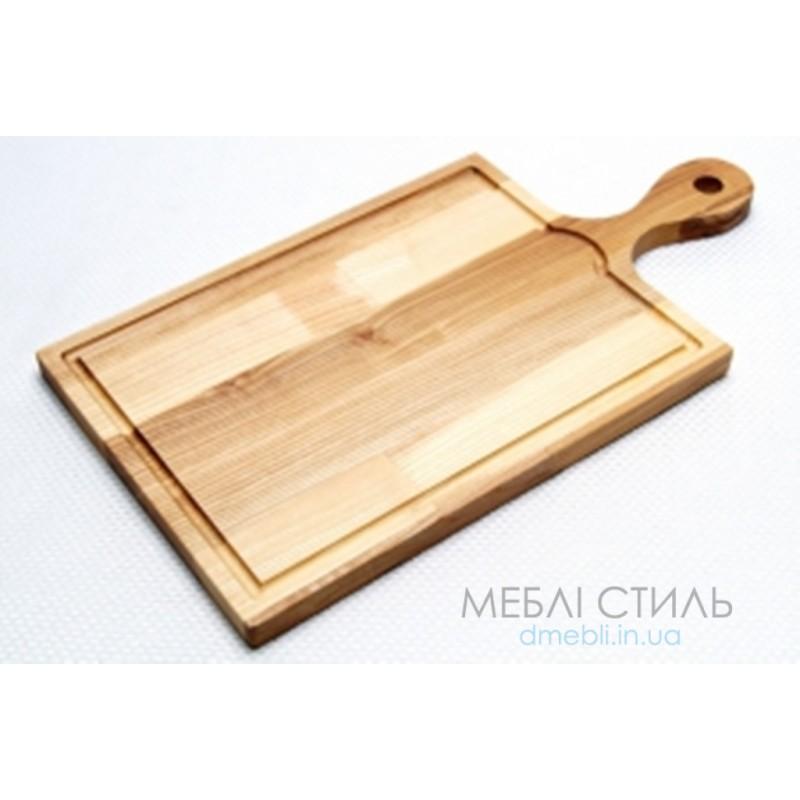 Доска разделочная с желобом и ручкой 420*220*18 мм
